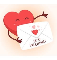 red heart holding envelope on white backg vector image