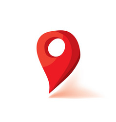 Red map marker icon flat vector