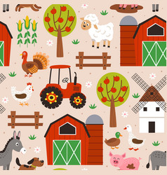 seamless pattern with happy animal farm vector image