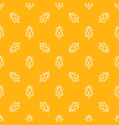 seamless pattern with honey bees line icons vector image