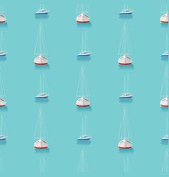 seamless pattern with yachts in the blue sea vector image
