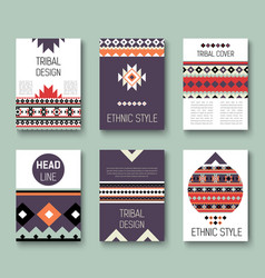 set geometric abstract colorful flyers ethnic vector image