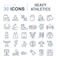 Set line icons heavy athletics vector