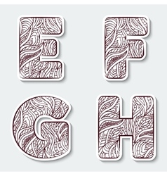 Set of capital letters e f g h from vector