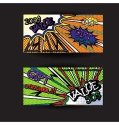 Set of gift voucher card template pop art bright vector