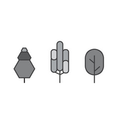 Set of line trees forest creative icons vector