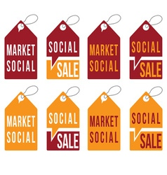 set of social sale tags design template vector image