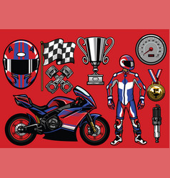 Set of sportbike racing elements vector