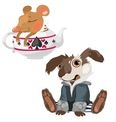 Shell-shocked dog and sleeping mouse in teapot vector