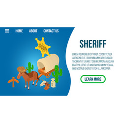 sheriff concept banner isometric style vector image