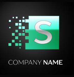 silver letter s logo symbol in the green square vector image