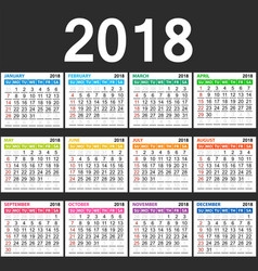 simple 2018 new year calendar in table vector image