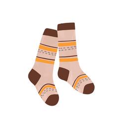 Striped autumn warm socks flat vector