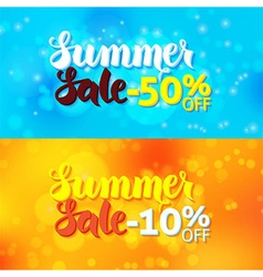 Summer Sale Promo Banners over Abstract Blurred vector image