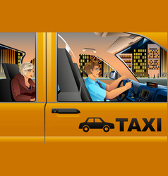 taxi driver driving a passenger vector image