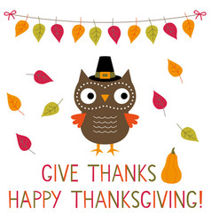 thanksgiving card with a cute owl vector image
