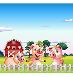 Three pigs dancing inside the fence vector