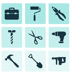 tools icons set with electric instrument drill vector image