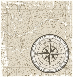 Topographic Map with Compass vector