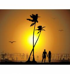 tropical sunset beach vector image