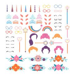 unicorn constructor stylish pony details horns vector image