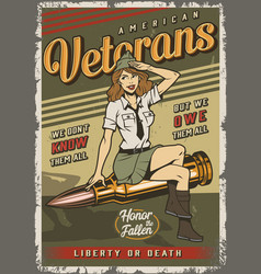 Vintage colorful military template vector