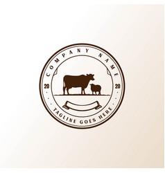 Vintage retro angus cow bull lamb cattle livestock vector