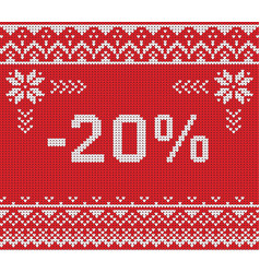 Winter sale discount banner knitted background vector