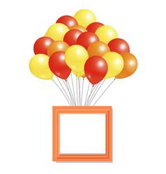 Yellow orange red balloons big bundle square frame vector