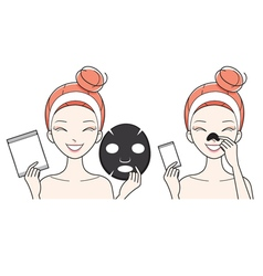 Young Woman With Facial Nose Mask Sheet vector image
