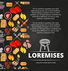 barbecue burgers and equipment chalkboard poster vector image vector image