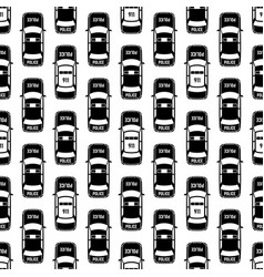 Black and white police cars seamless pattern vector