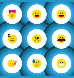 flat icon emoji set of cross-eyed face caress vector image vector image