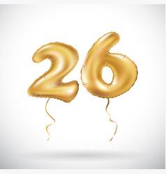 golden number 26 twenty six metallic balloon vector image vector image