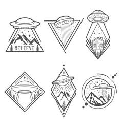 Set of six ufo emblems labels badges or logos vector