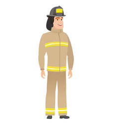 young caucasian happy firefighter vector image