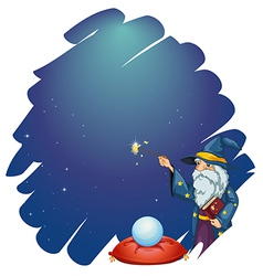 A wizard holding a magic wand and a book in front vector image vector image