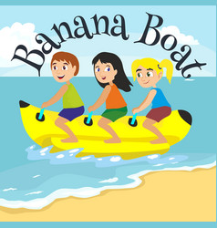 banana boat water extreme sports isolated design vector image vector image