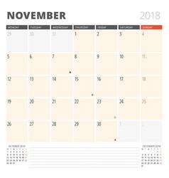 calendar planner for november 2018 design vector image vector image