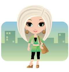 cartoon woman in a city vector image vector image