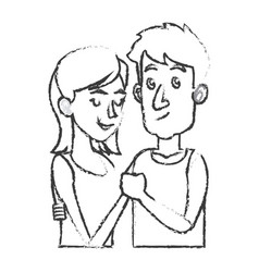 embracing couple relationship together sketch vector image