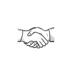 handshake hand drawn sketch icon vector image