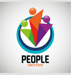 people silhouette colors icon vector image
