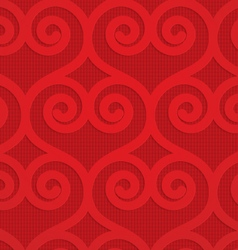 Red swirly hearts on checkered background vector image vector image