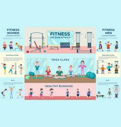 sport fitness infographic horizontal banners vector image vector image