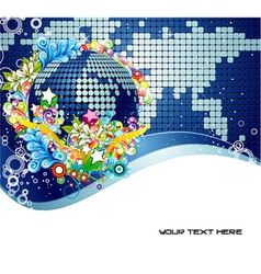 abstract earth globe with floral vector image vector image