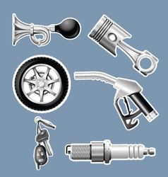 Automotive parts and accessories icons vector image vector image