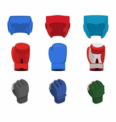 boxing gloves helmet gloves for the mix fight vector image vector image