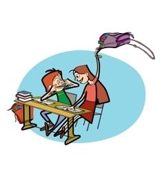 Boy and girl in school pranks vector image