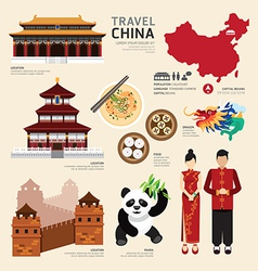 China Flat Icons Design Travel Concept vector image